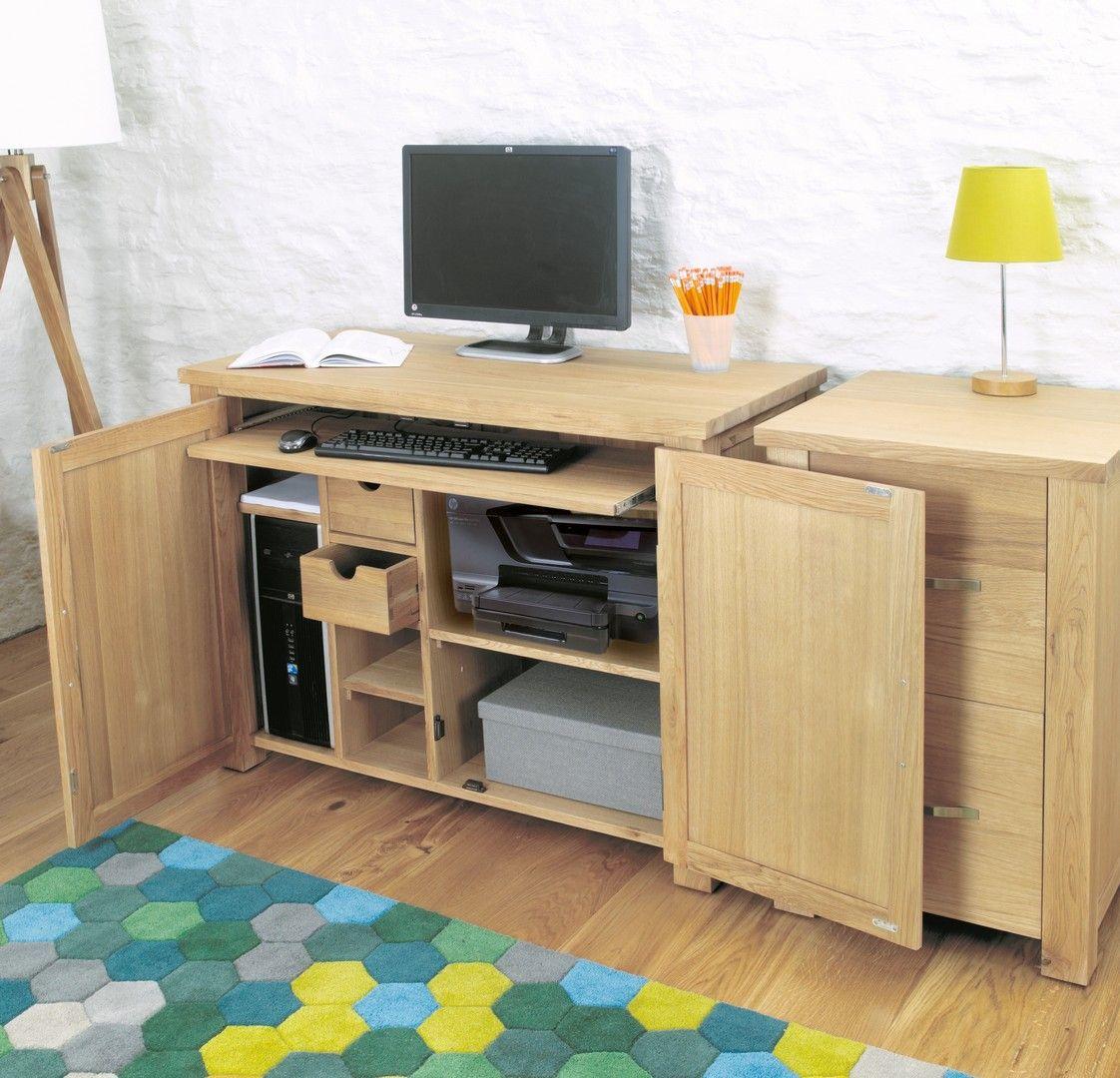 Innovative Hidden Home Office Computer Desk. Aston Oak Hidden Home Office  Pc Desk. Brand