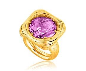 RICHARD CANNON Round Amethyst Filament Ring in 14K Yellow Gold