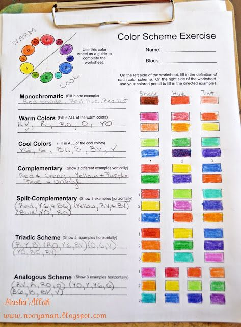 Color Scheme Worksheet Worksheets and Handouts