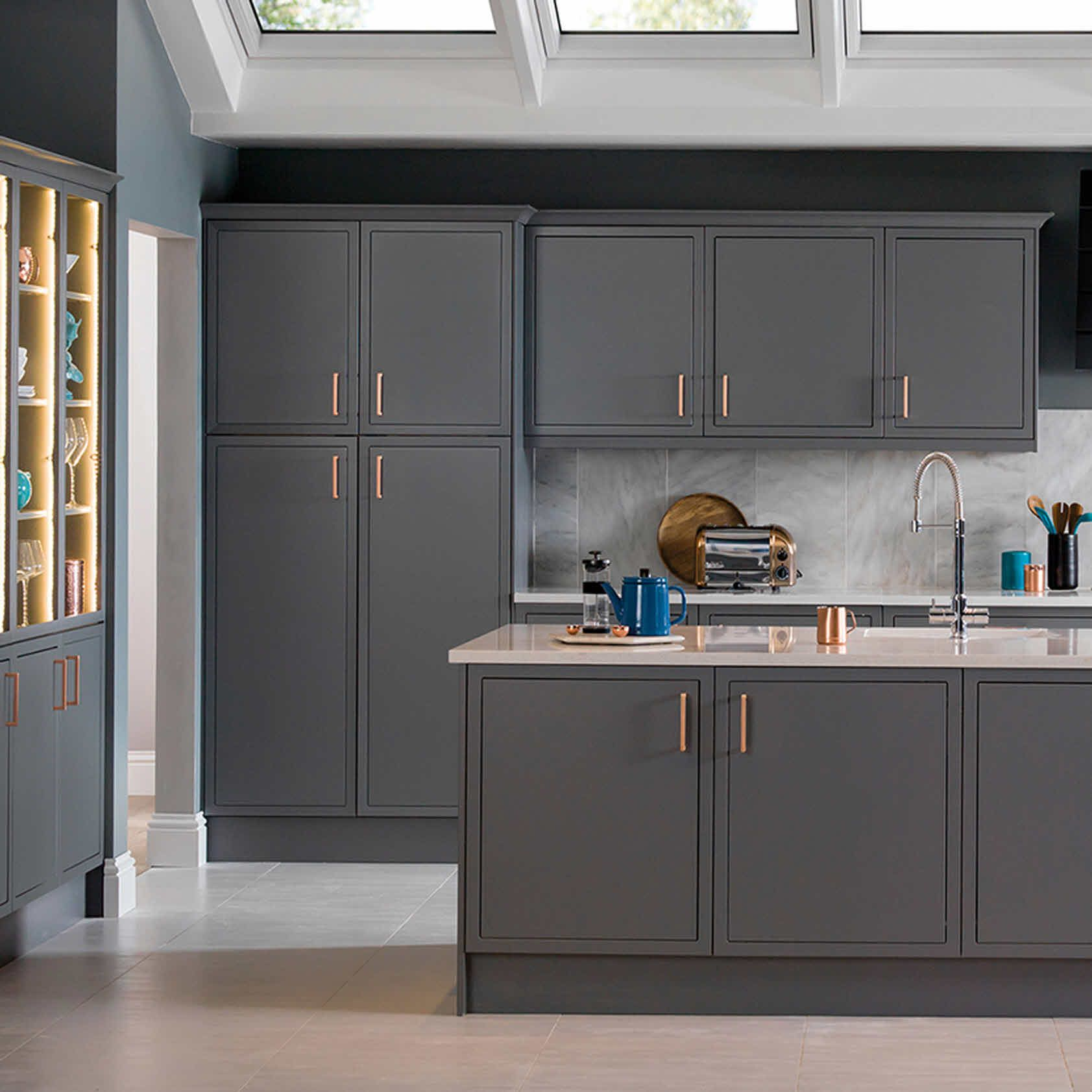 Dark Grey Kitchen With Copper Handles Trendir Grey Kitchen Designs White Modern Kitchen Light Grey Kitchen Cabinets