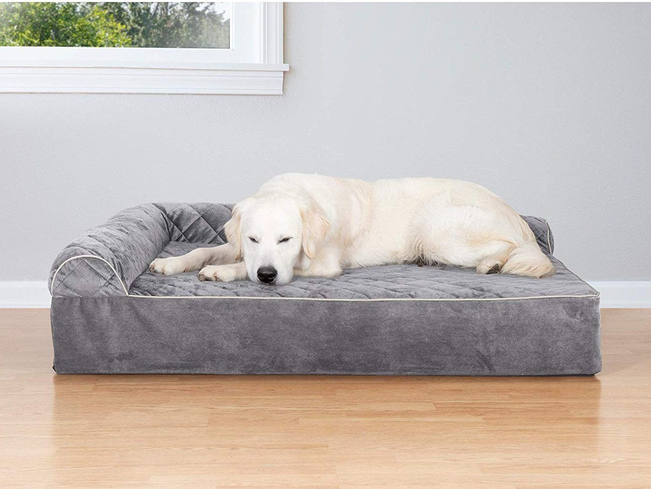 Furhaven Orthopedic Goliath Quilted Faux Fur Velvet Chaise Couch Pet Bed Petagadget Dog Sofa Bed Dog Lounge Bed Couch Pet Bed
