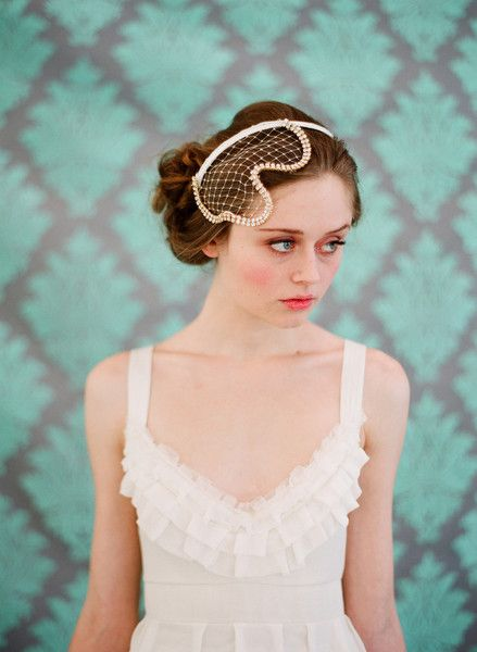 Rhinestone Trimmed Modern Birdcage Veil - Twigs & Honey