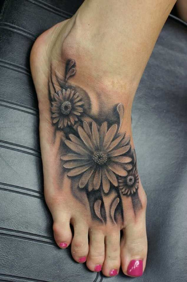 8c9c8e575d5ad Realistic Black Daisy Flowers Tattoo On Foot For Girls | tattoos ...