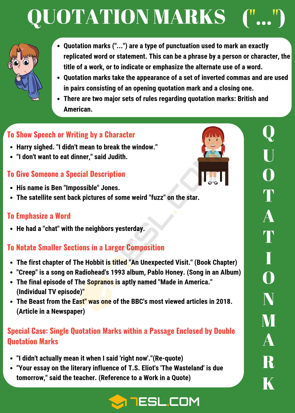 Quotation Mark What Are They And When Do We Use Them 7esl English Writing Skill Grammar Vocabulary How To Cite A Book Title In Text