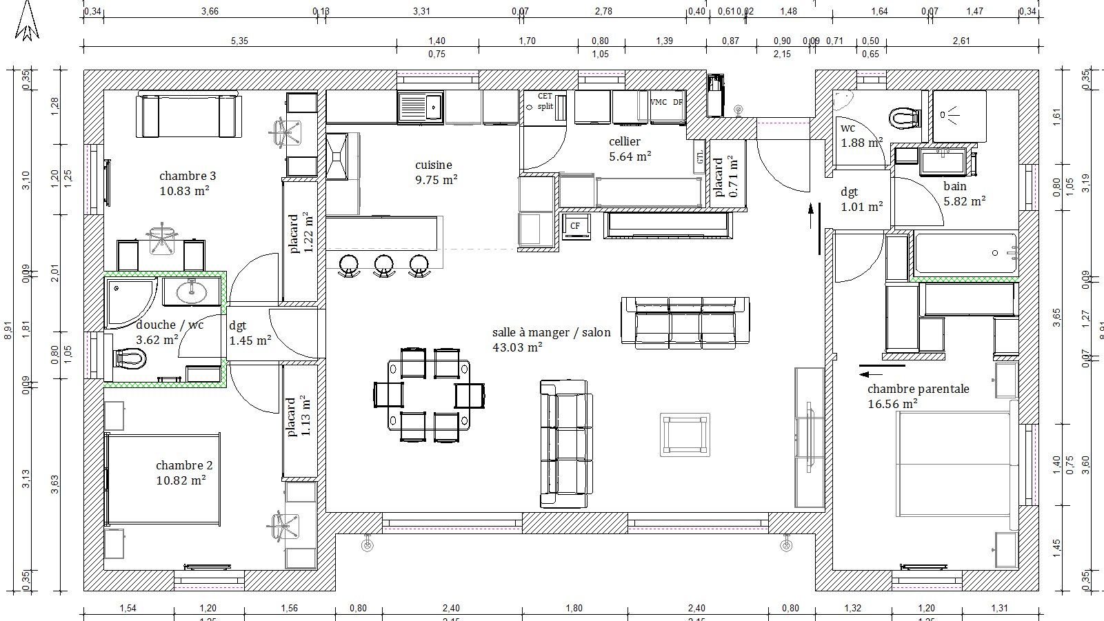 Plan maison 4 chambres 130m2 for Plan maison contemporaine 3 chambres