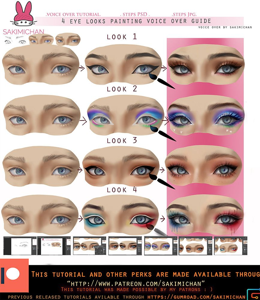 4 eye looks voice over painting guide sakimi chan on