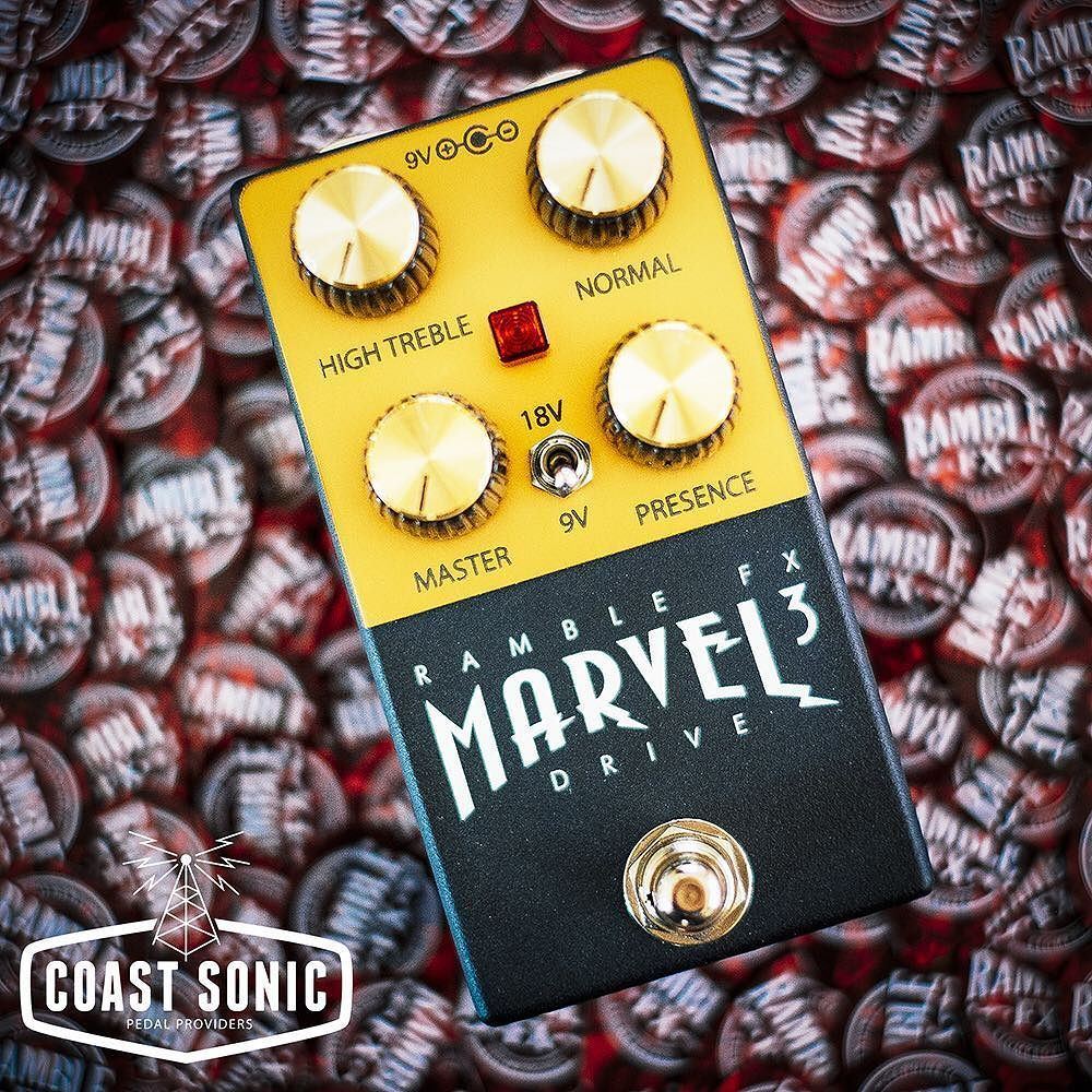 """Just got a fresh supply of the Marvel Drives from Ramble FX in today! Both black and red versions are in stock.  Got that """"one amp"""" syndrome? Got a Fender but sometimes you need it to sound like a roaring Plexi? The Marvel Drive V3 from Ramble FX is pretty much one of the best Marshall in a box style pedals we've ever crossed paths with.  The secret sauce in a lot of players vintage Plexi tones was created by patching two of the four inputs together. The resulting blend of the high treble…"""
