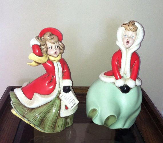 Ceramic Christmas Caroler Figurines Parma By Thepokeypoodle: Vintage Set Of 2 Atlantic Mold Caroler Figurines