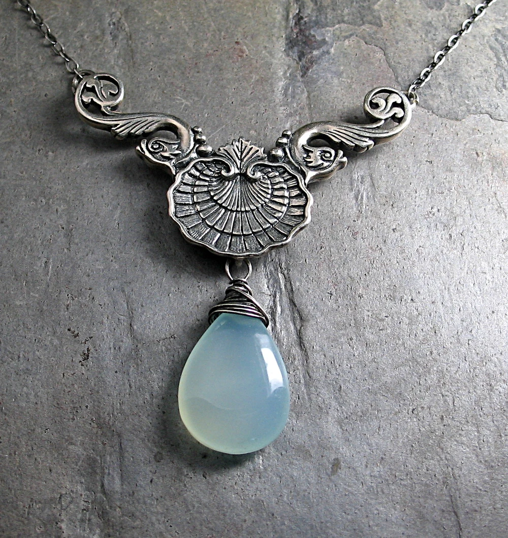 Sterling Silver Floral Textured Blue Chalcedony Pendant.