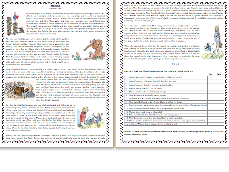 Matilda - by Roald Dahl - Reading Comprehension Text / Story