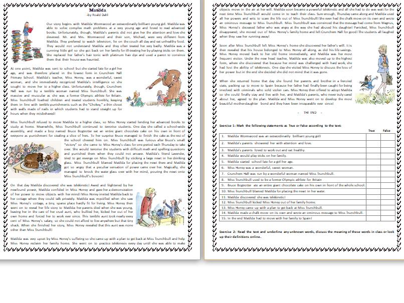Matilda By Roald Dahl Reading Comprehension Text Elt Resources