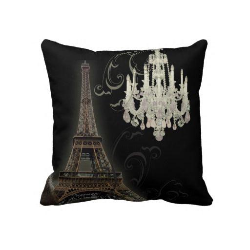 Black and White Chandelier vintage paris decor pillow