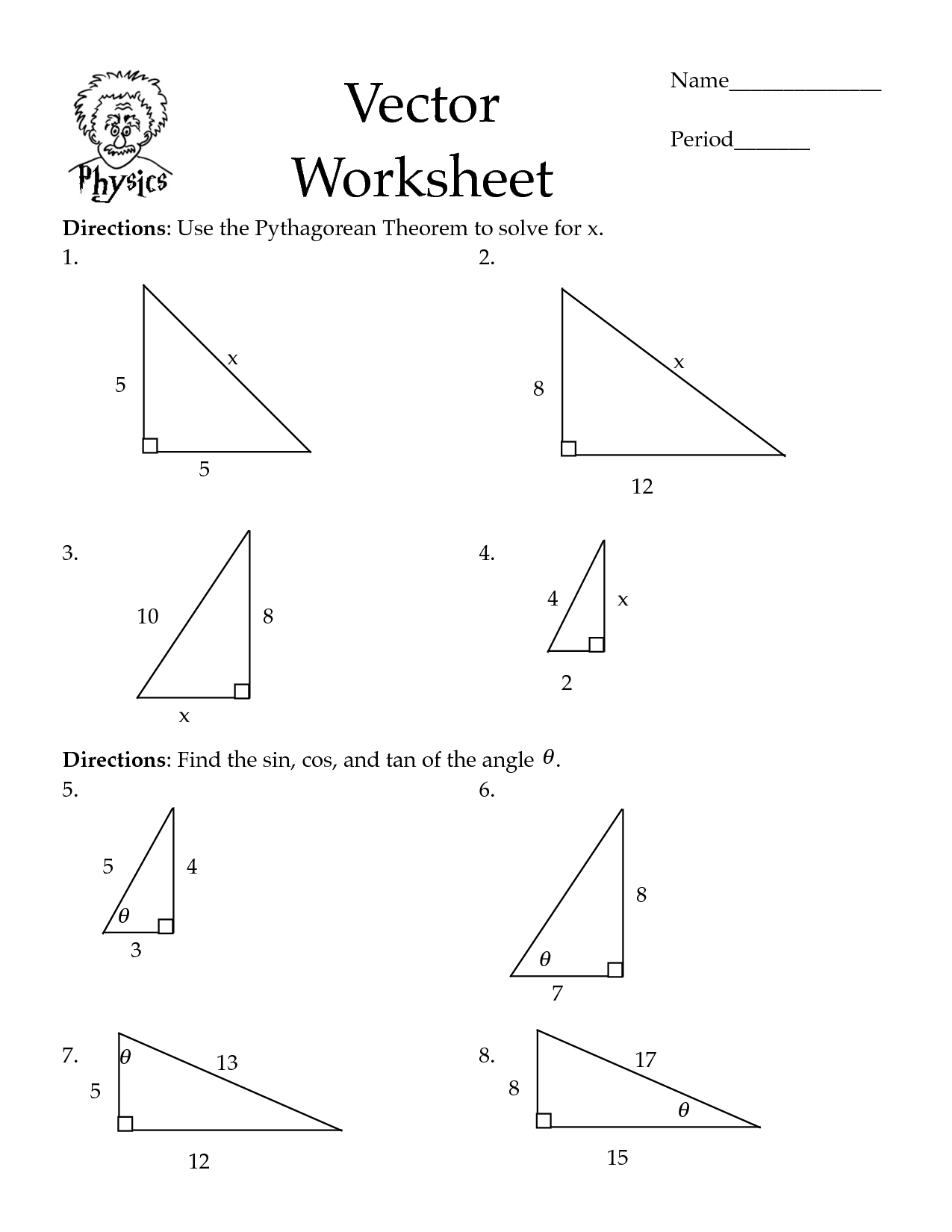 pythagorean theorem worksheets Cos Law Worksheet PDF