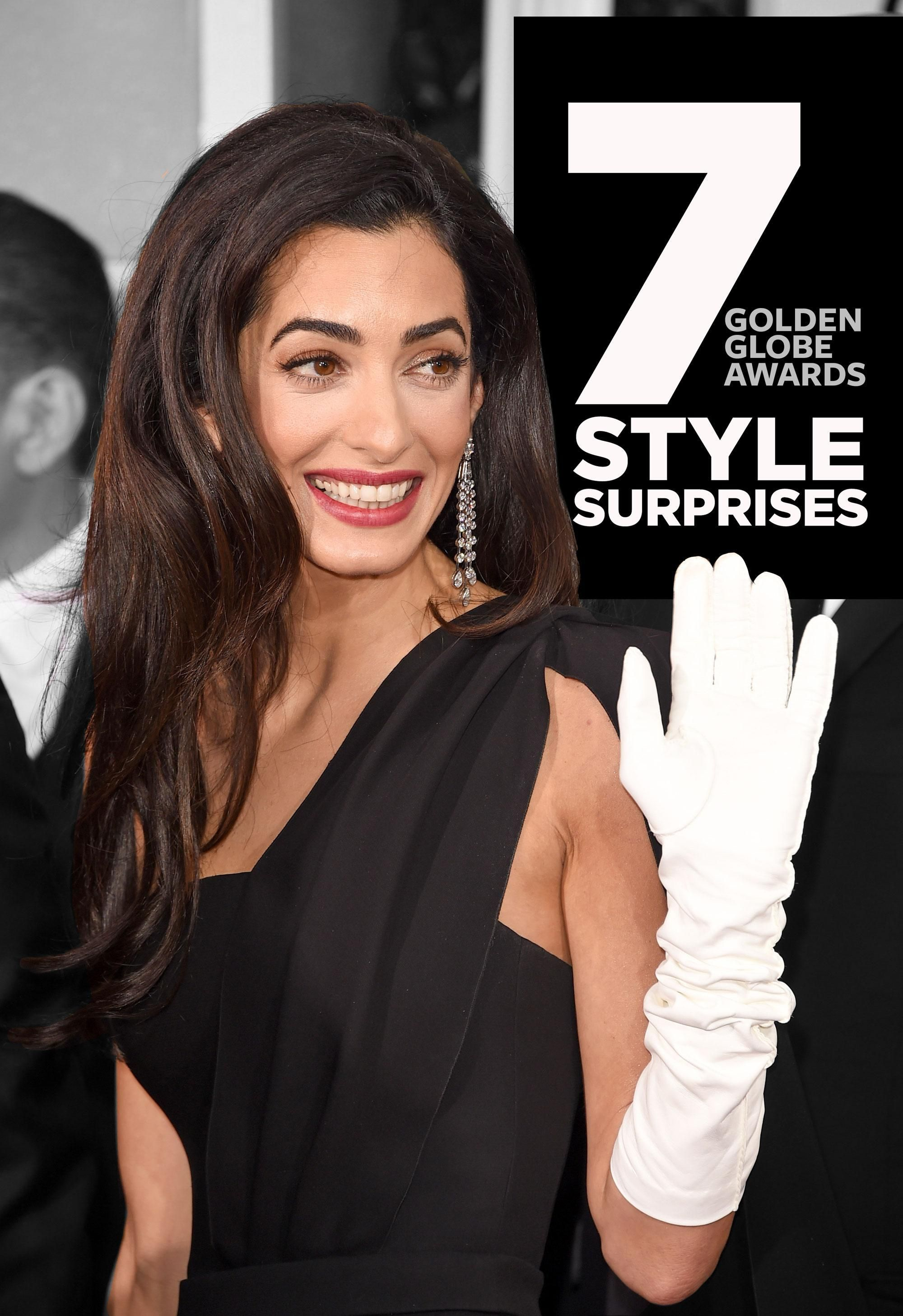 Black gloves for gown - Golden Globes 2015 Style Surprises Amal Clooney S Gloves Jennifer Aniston S Updo More