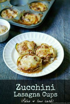 These Zucchini Lasagna Cups are a fun low carb dish that has all the taste of traditional lasagna using zucchini instead of pasta. Gluten Free. Snickerdoodle Sunday Party