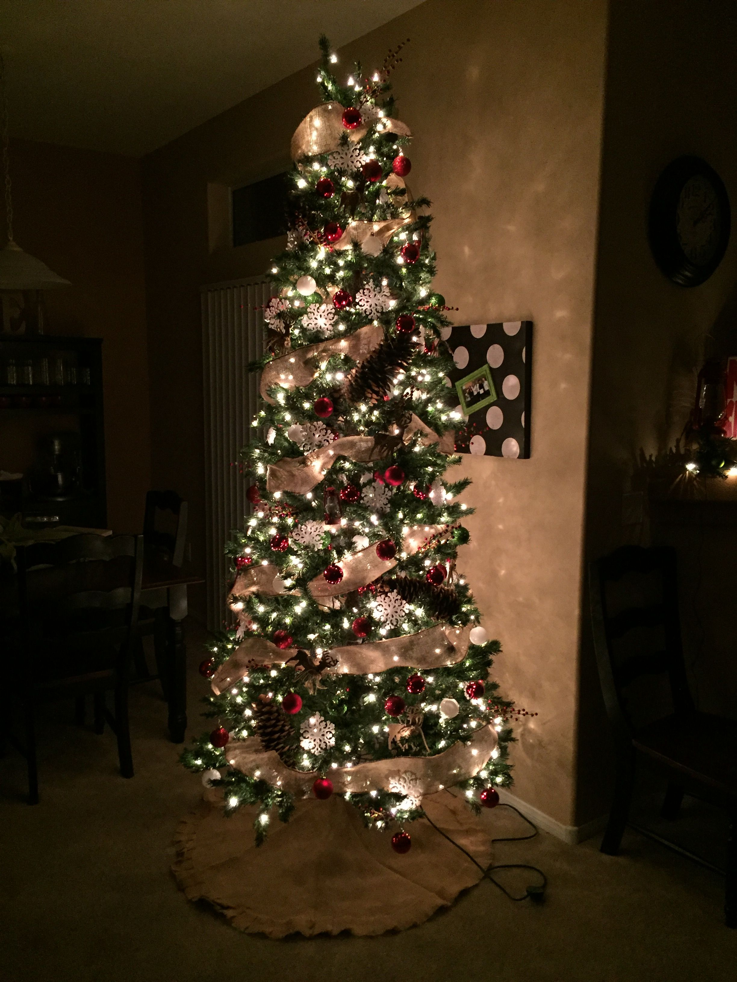 This Christmas Tree Decorated With All Items From Hobby Lobby Tree Is 9ft Slim Pine Slim Christmas Tree Narrow Christmas Tree Christmas Tree