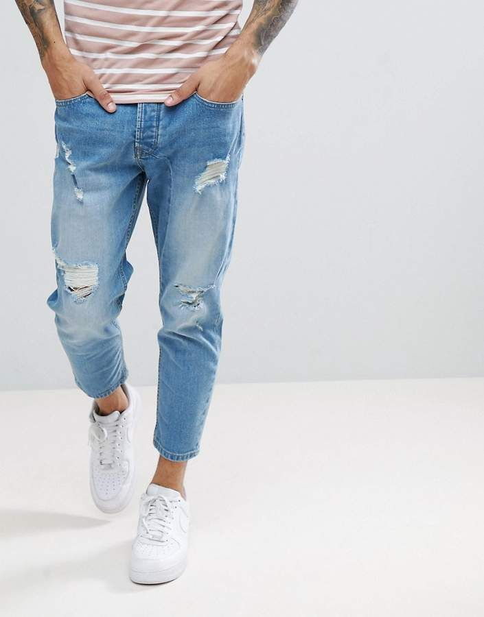 Solid Tapered Cropped Jeans With Rips In Light Blue Jeans Outfit