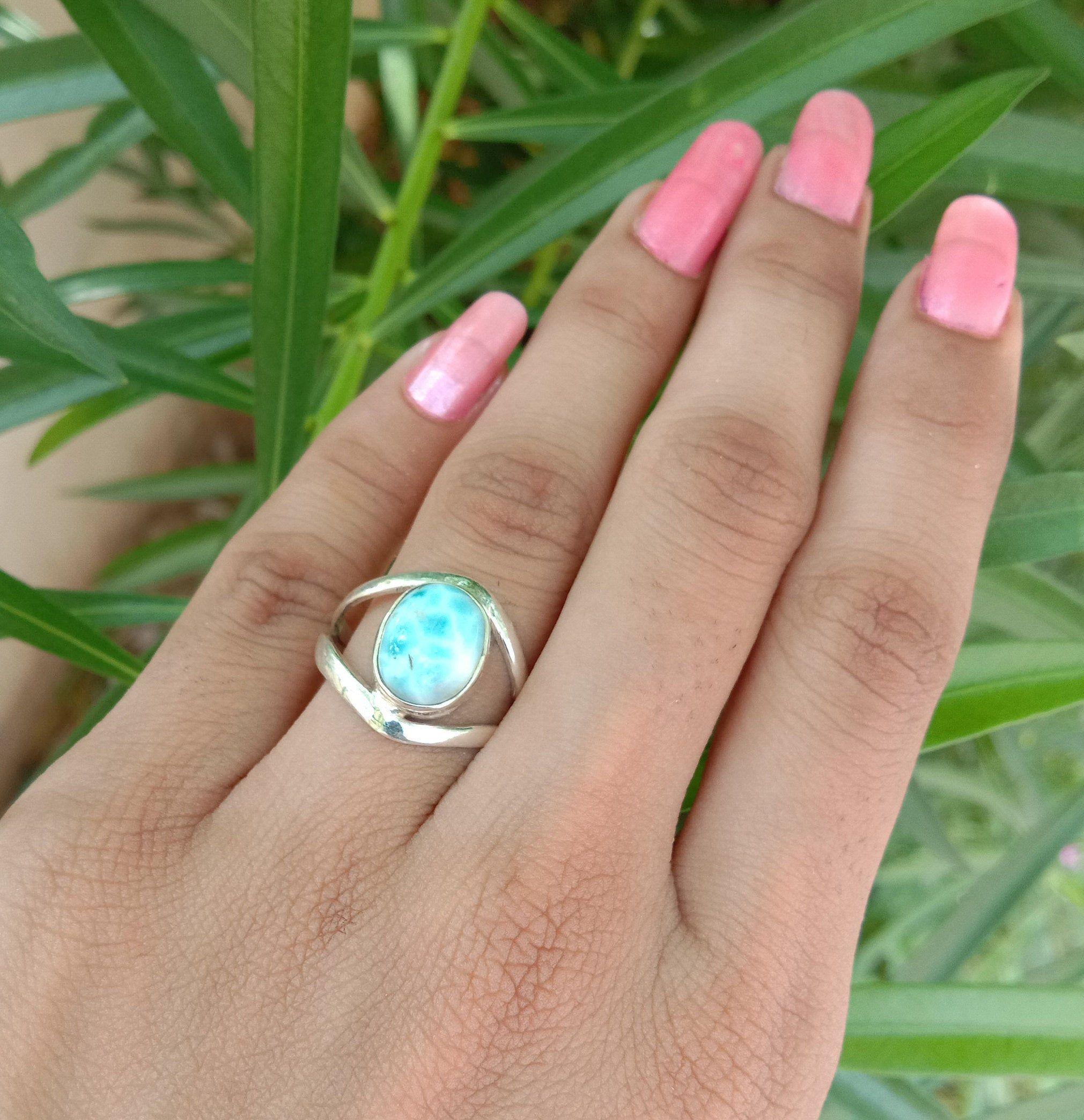 Natural Larimar Ring Extensive Gemstone Ring Sterling Silver Boho Ring Dominican Republic Boho Rings Gemstone Rings Leaf Engagement Ring