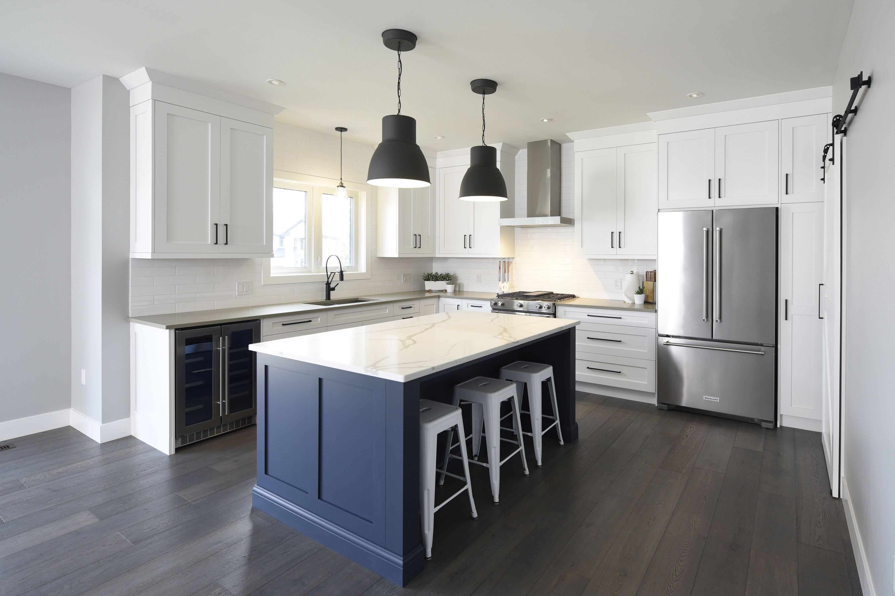 painted white maple kitchen with navy island and calcutta natura quartz farmhouse kitchen on farmhouse kitchen navy island id=30977