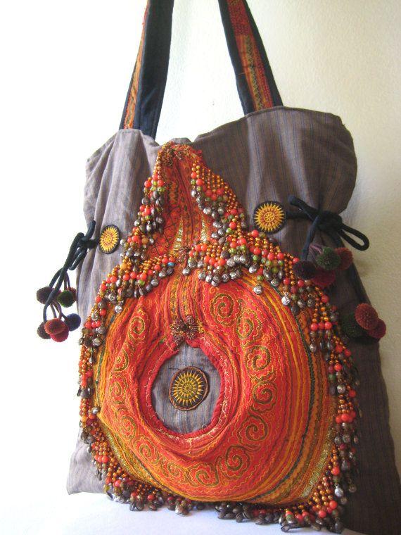 Hmong thai hippy hippie boho ethnic shoulder cross body bag handbag unusual gift
