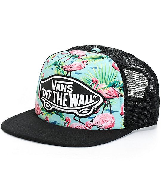 35a67953a8e Standout from the flock with the style of this flamingo print trucker hat  that features contrast black mesh panels
