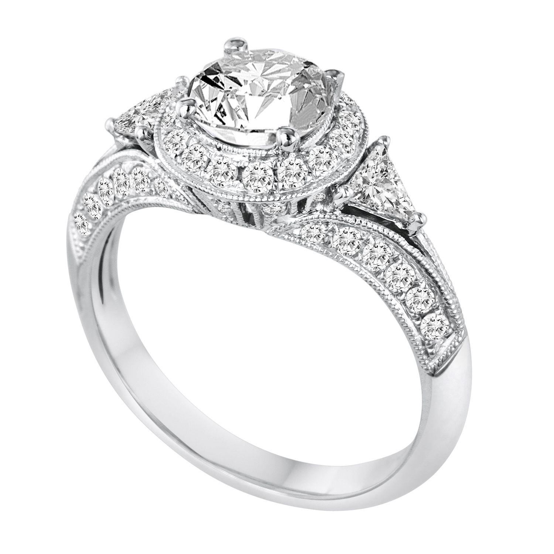 DFWR1062RD1.0W 18K White Gold Diamond Engagement Ring