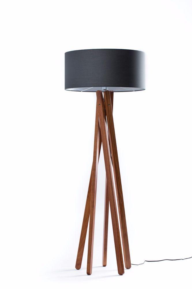 Details Zu Tripod Stehleuchte Schwarz Gold Holz Nussbaum Stativ Design  Stehlampe Hu003d160cm