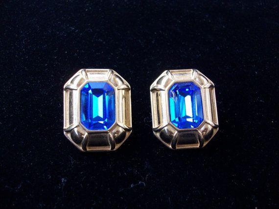Vintage Cobalt Blue Rhinestone Monet Earrings by MartiniMermaid, $42.00