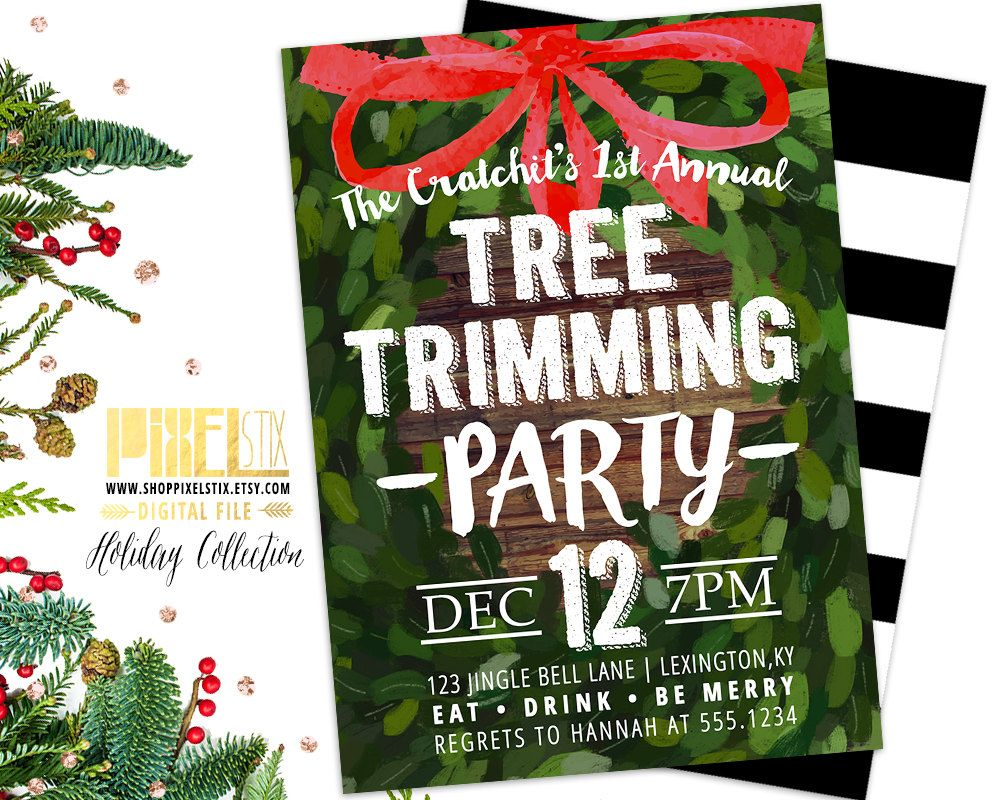 Christmas Tree Trimming Party Trim the Tree Boxwood Wreath Red – Tree Trimming Party Invitation