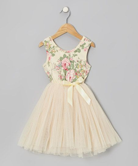 Zulily - Cream Floral Tulle A-Line Dress - Infant, Toddler & Girls