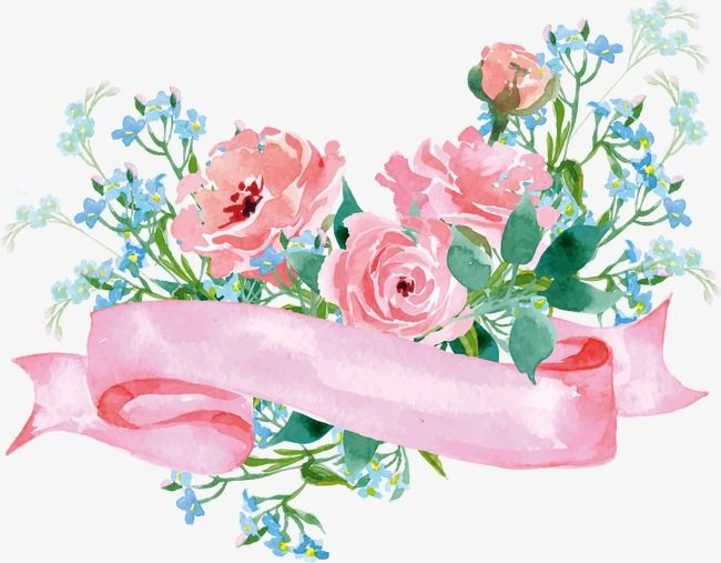 Floral Decoration Pink Flowers Watercolor Flowers Hand Painted