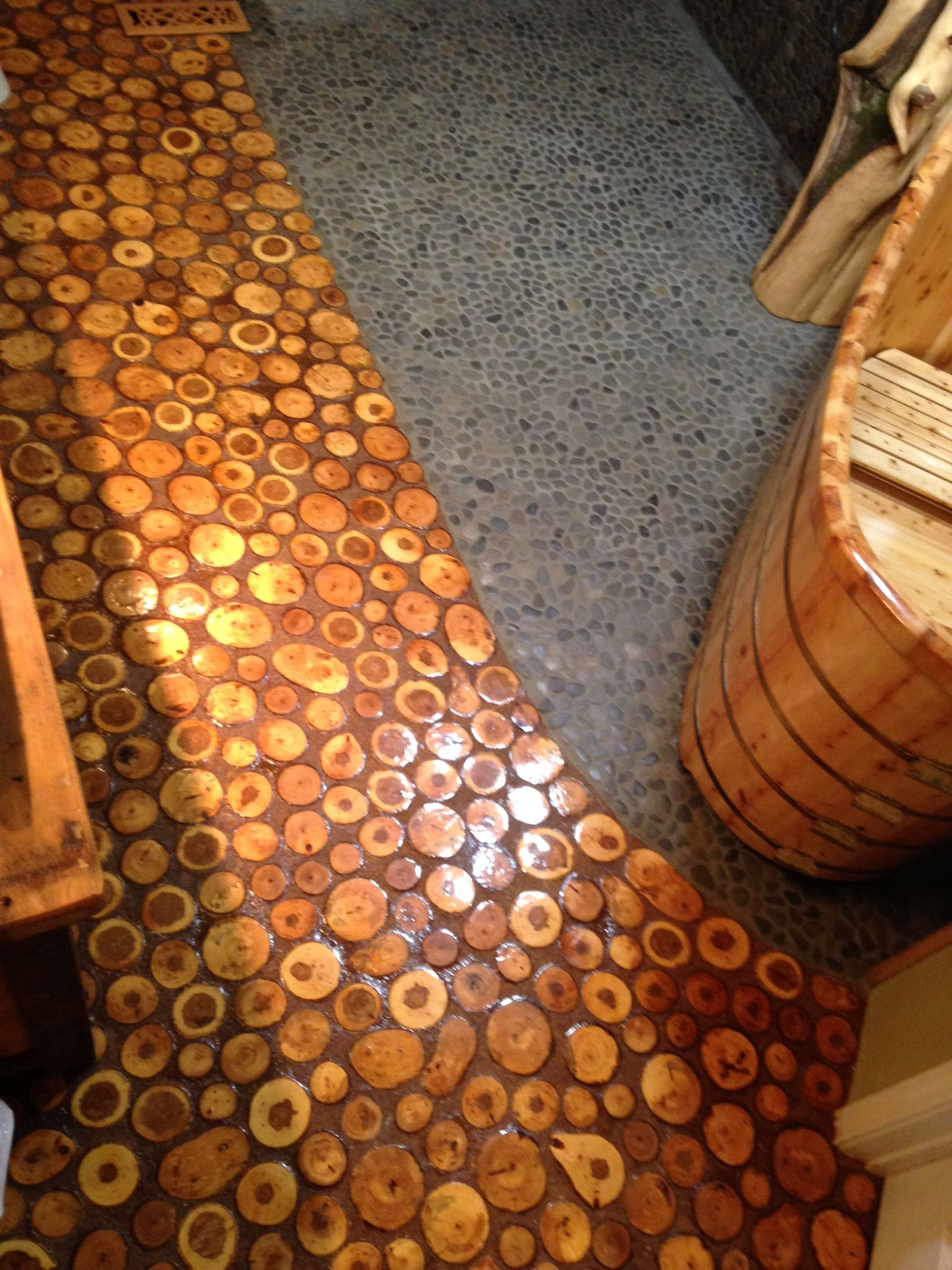 Flooring Made From End Grain Log Wafers And Sawdust Grout