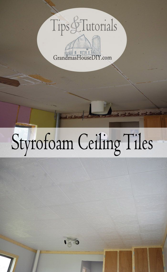 Easy To Install Styrofoam Do It Yourself Ceiling Tiles Over An Ugly How