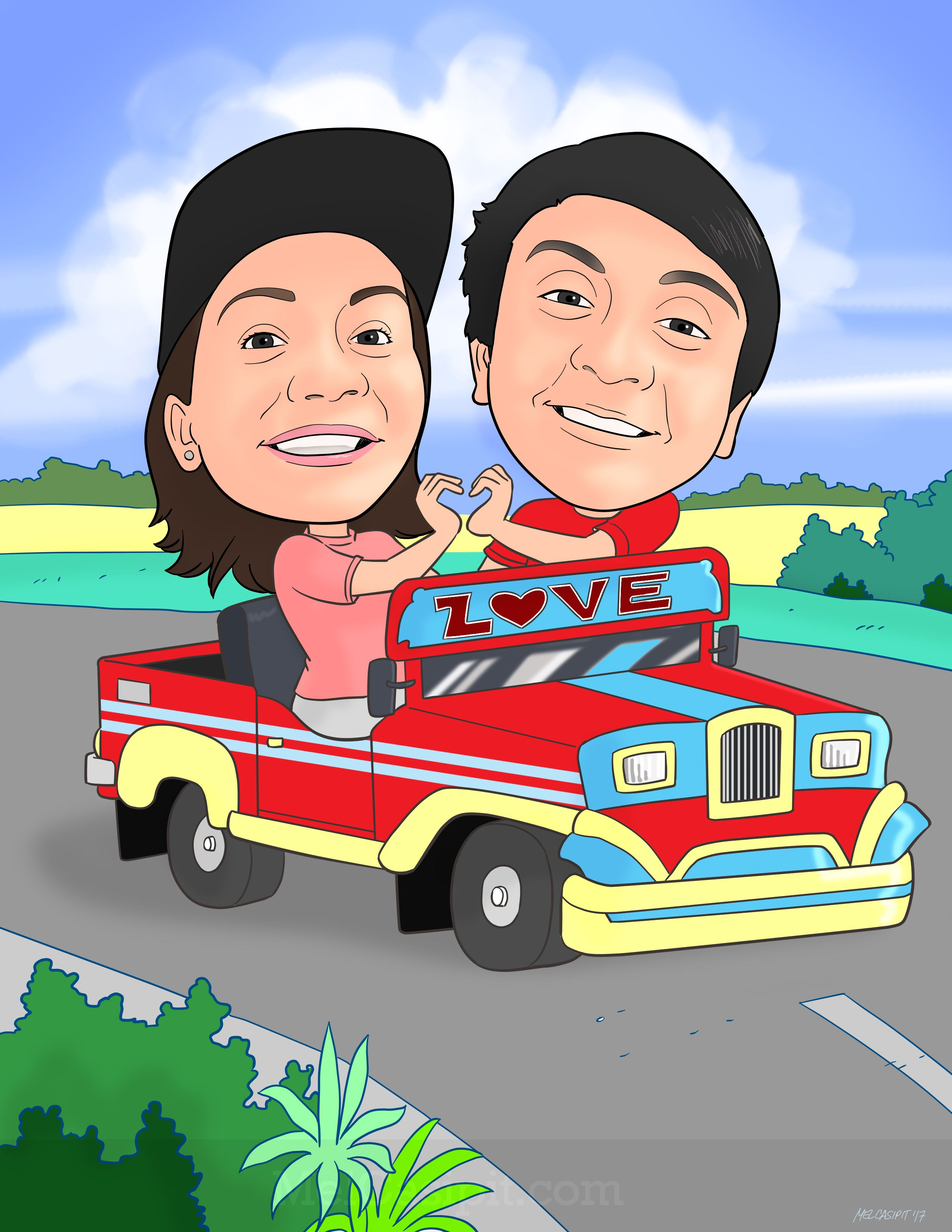 Couplecaricatureinajeepney Digital And Traditional Caricatures