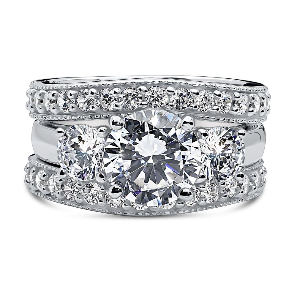Round Clear Center Cubic Zirconia Flower Ring Rhodium Plated Sterling Silver