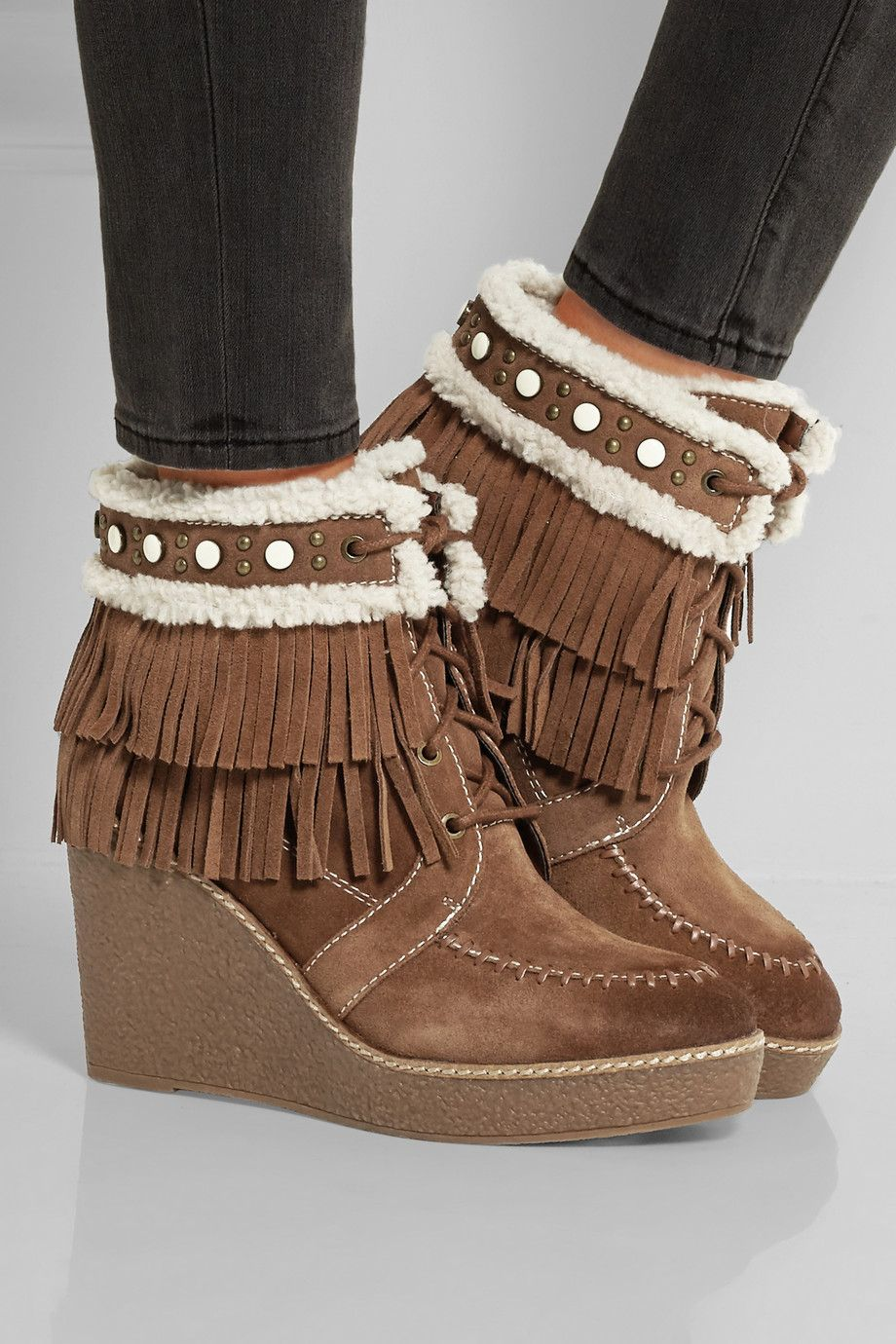 Sam Edelman | Kemper faux shearling-lined fringed suede wedge boots |  NET-A-PORTER | These Boots Are Made For Walking | Pinterest | Wedges