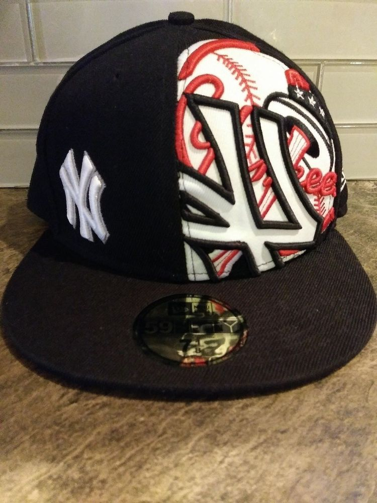 2277f46a NY Yankees 59 Fifty New Era Baseball Size 7 1/8 Fitted Cap Black Red ...