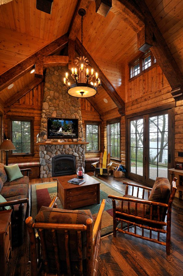 47 Extremely Cozy And Rustic Cabin Style Living Rooms Log Cabin