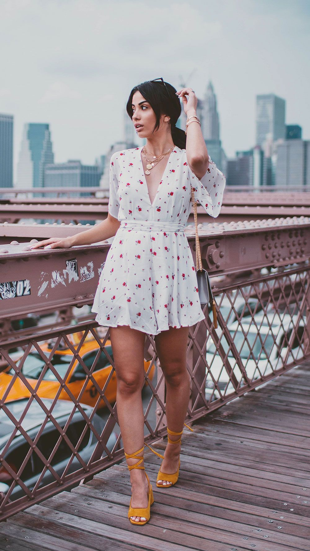 White Flower Romper With Yellow Sandals Summer Summerstyle Summerdress Summeroutfits Outfit Romper Yellow Sandals Lovely Clothes Sandals Outfit Casual [ 1778 x 1000 Pixel ]