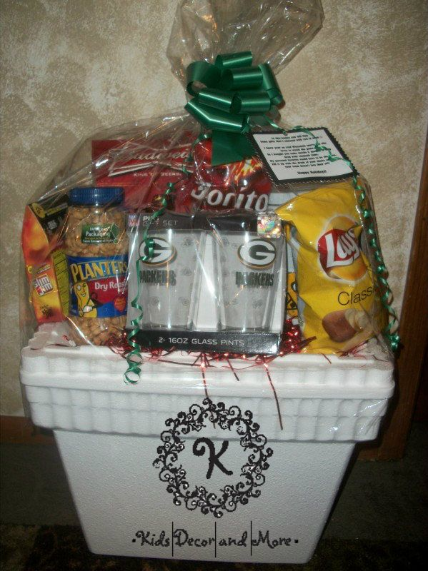 Sports Game Day Packers Man Gift Basket Birthday