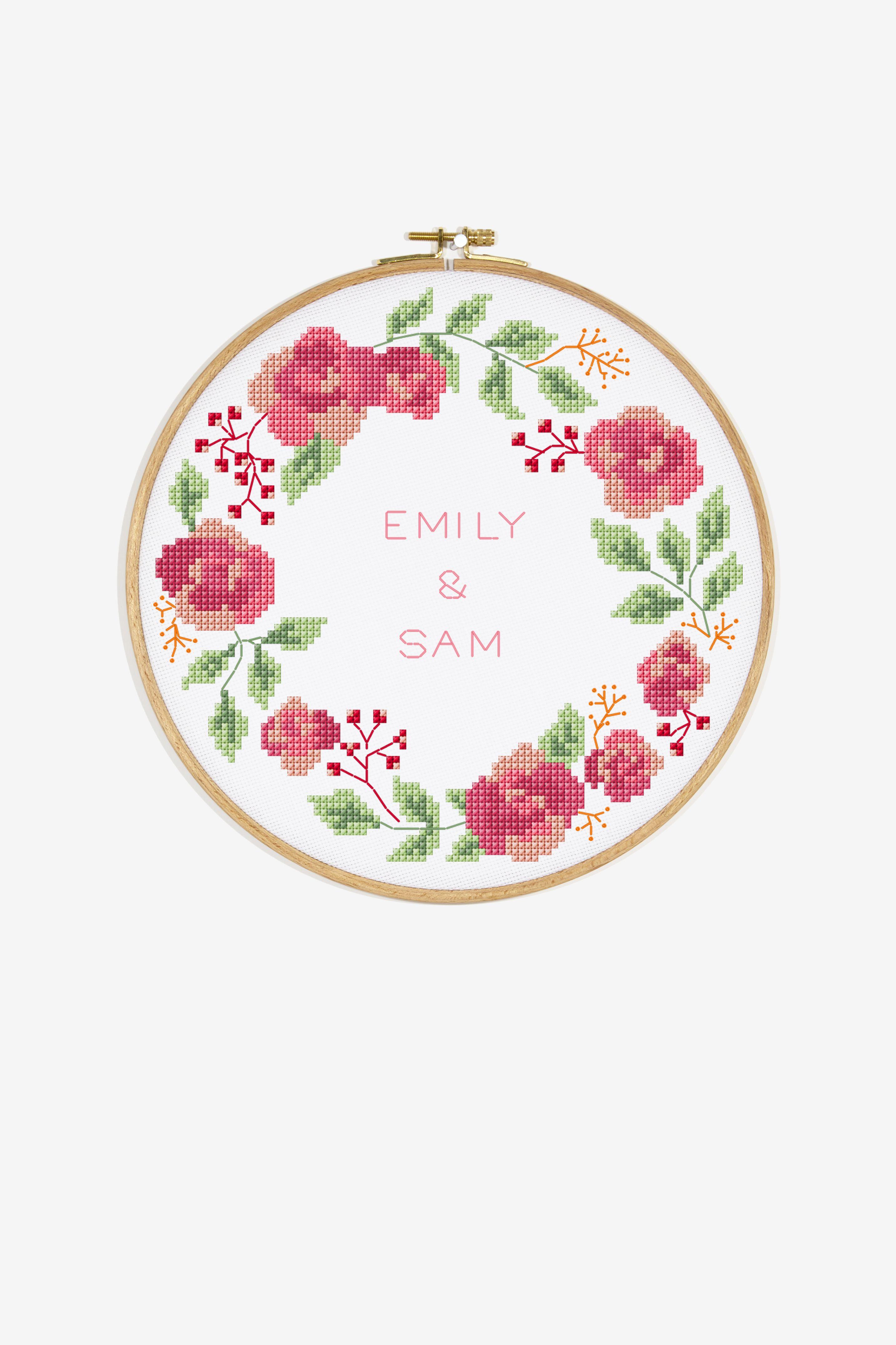 Rose wreath pattern embroidery pinterest pattern cross