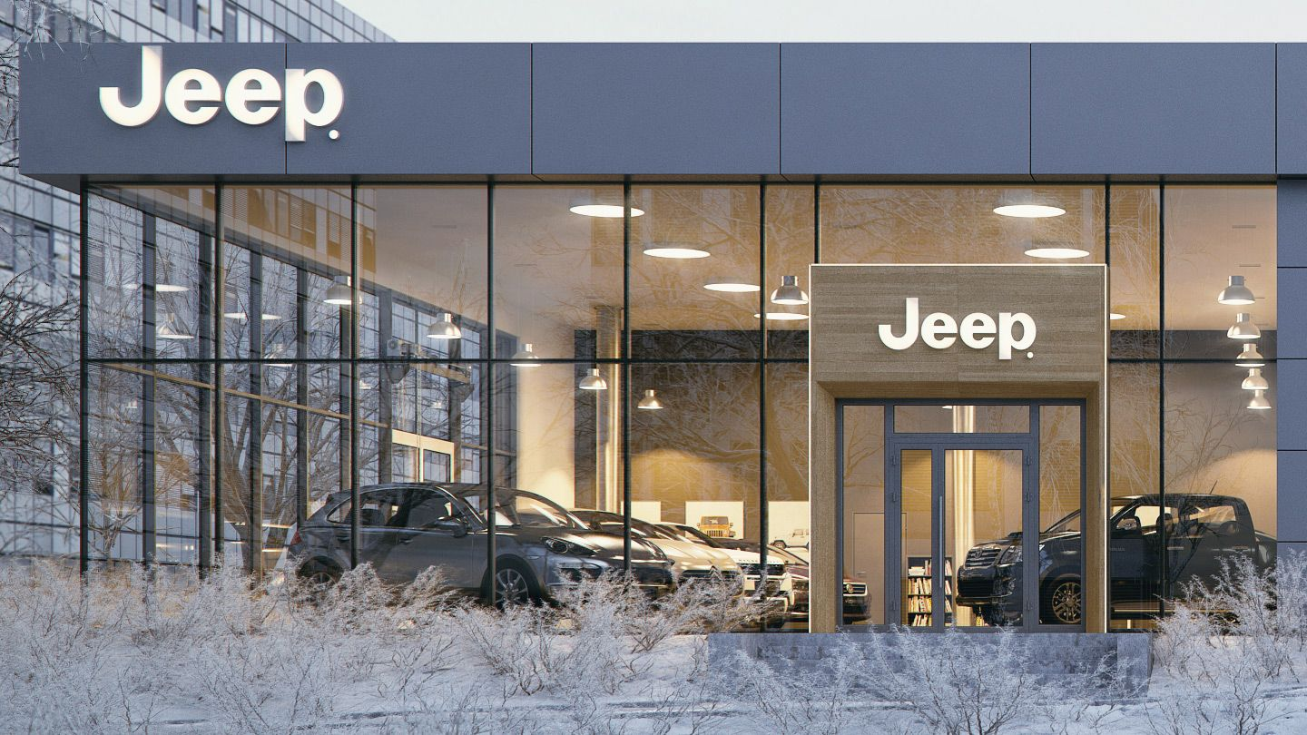 Exterior Visualization Of Jeep Showroom Located In Cracow Pl Made