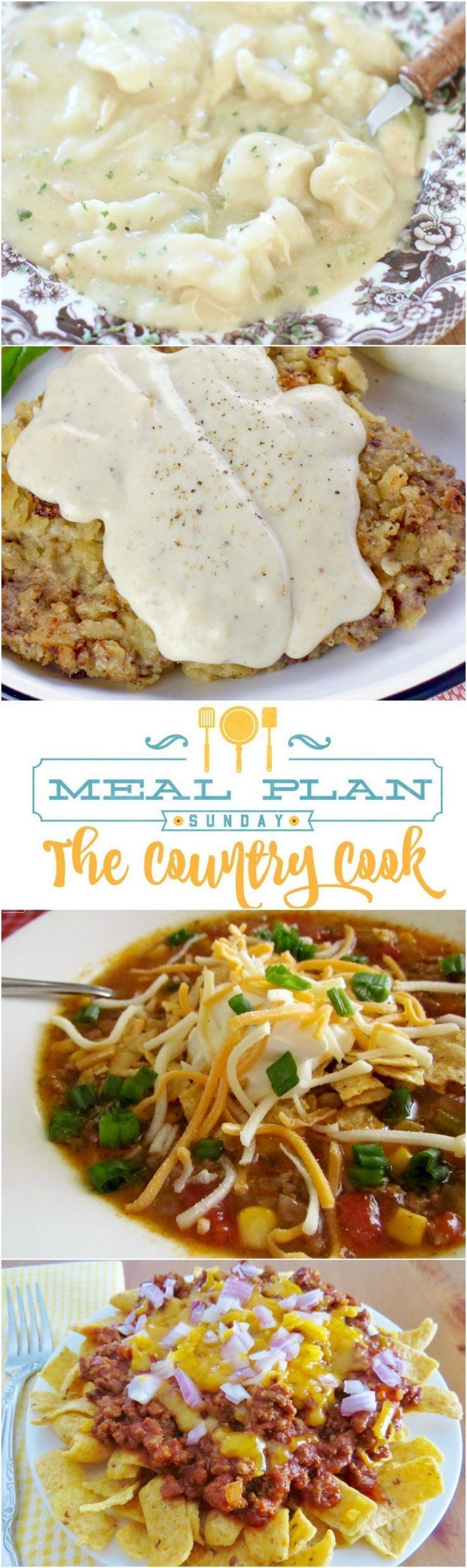 Meal Plan recipes include: Crock Pot Chicken & Dumplings, Crock Pot Taco Soup, Chicken Fried Steak and Gravy, Frito Chili Pie, Mexican-Style Rice, Banana Cream Pie, Crock Pot Carnitas #chickendumplingscrockpot Meal Plan recipes include: Crock Pot Chicken & Dumplings, Crock Pot Taco Soup, Chicken Fried Steak and Gravy, Frito Chili Pie, Mexican-Style Rice, Banana Cream Pie, Crock Pot Carnitas #chickendumplingscrockpot