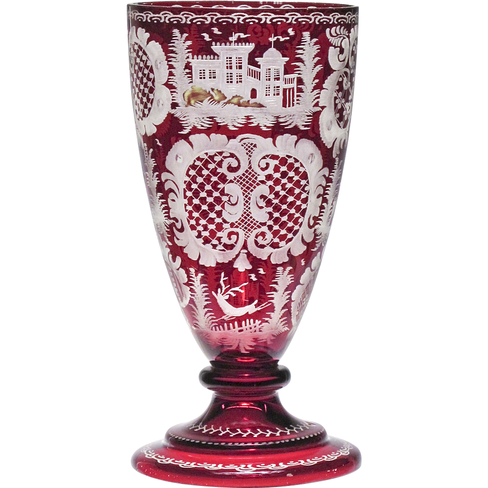 Antique ruby red cut to clear bohemian goblet vase ruby red antique ruby red cut to clear bohemian goblet vase from oh on ruby lane reviewsmspy