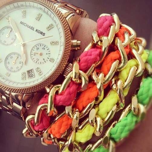 Michael Kors watch, neon chain wrap bracelets