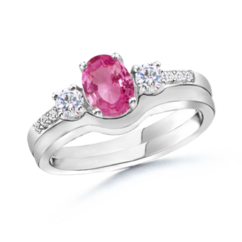 Angara Three Stone Pink Sapphire Diamond Engagement Ring in Platinum rACPs