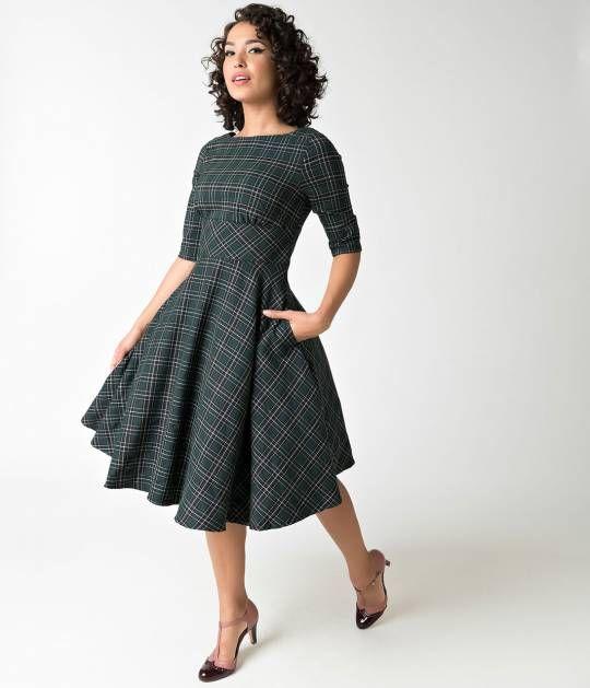 35e5eca74e7 Hell Bunny Green Plaid Peebles Swing Dress