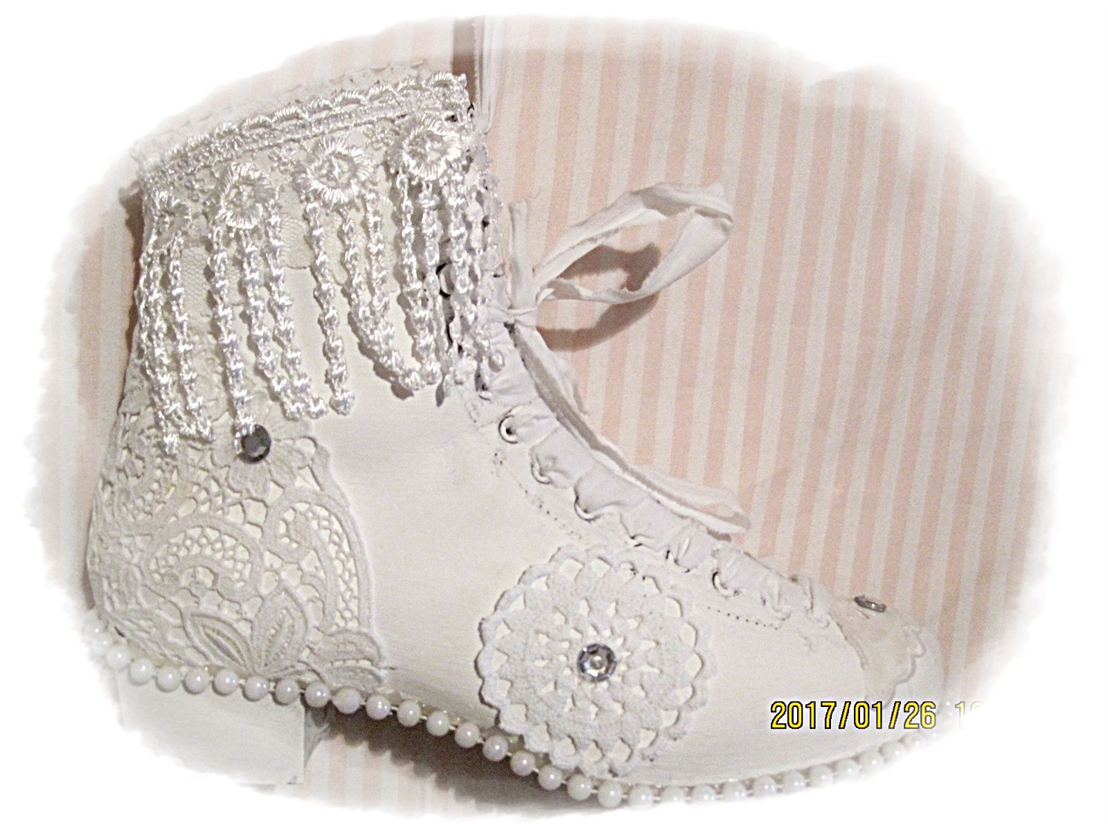 old ice skates , laces , crochet , old pearls and some bling bling