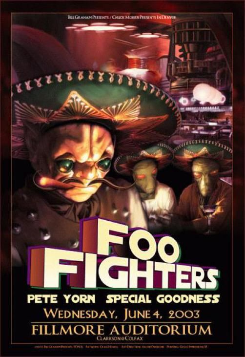 Original concert poster for Foo Fighters and Pete Yorn at the Fillmore in Denver, Colorado 2003. 13x19 inches on card stock. Art by Craig Howell. FDN15