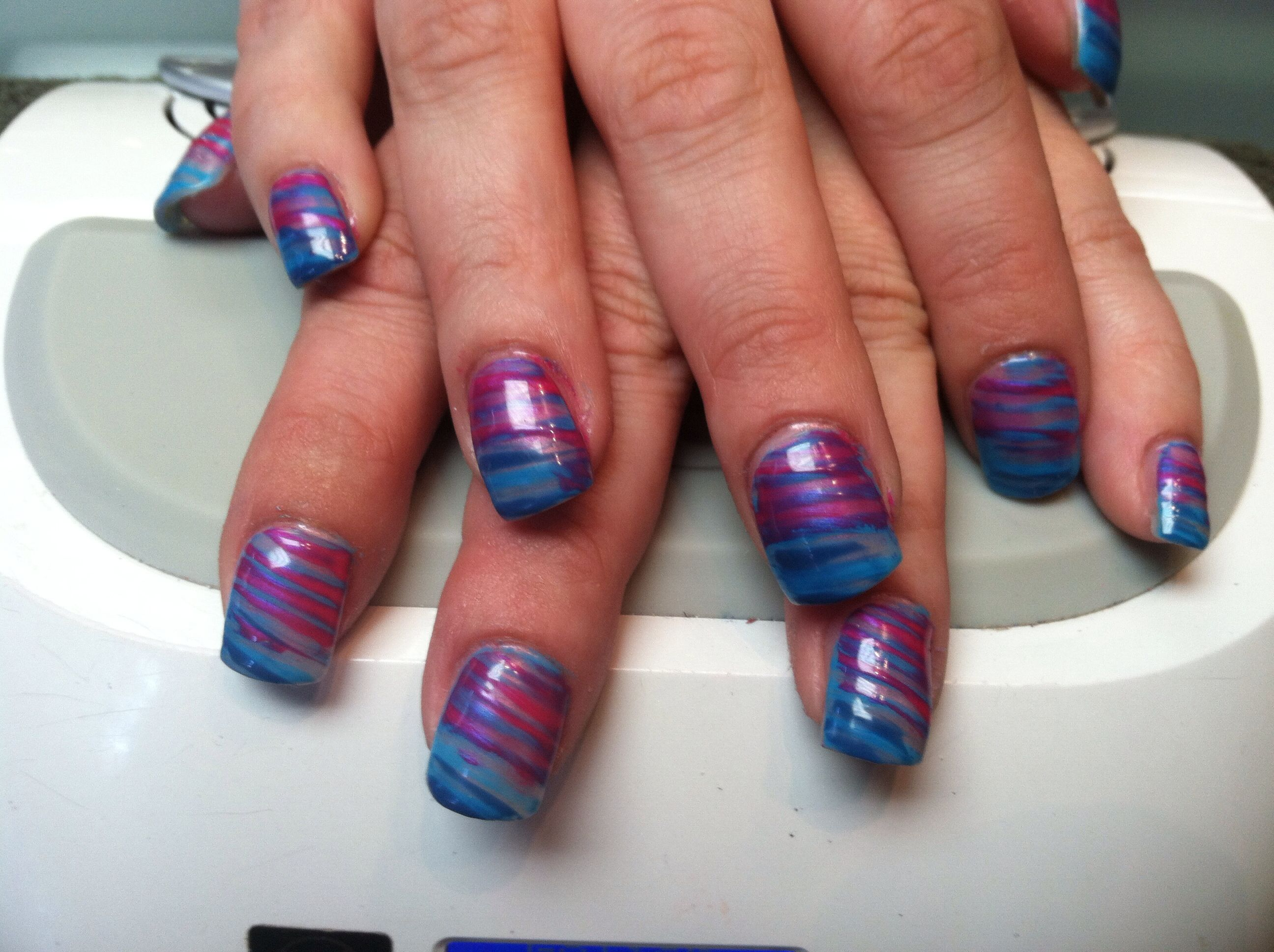 Nail art with shellac and a fan brush. | Nails by LYSA! | Pinterest ...